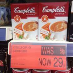 Campbell's Carrot & Coriander Cup Soup 29p for a box of 4 packets in B&M Bargains
