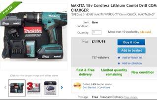 Makita 18v drill £119.98 @ Ebay/holywell_tools