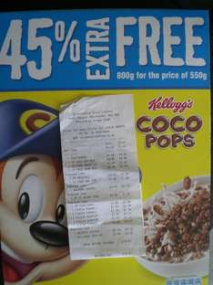 Kellogg's Coco Pops 800g £2 at Co-op  (550g + 45% extra packs)