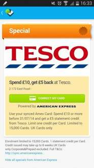 Amex + Foursquare - Spend £10, get £5 back at Tesco