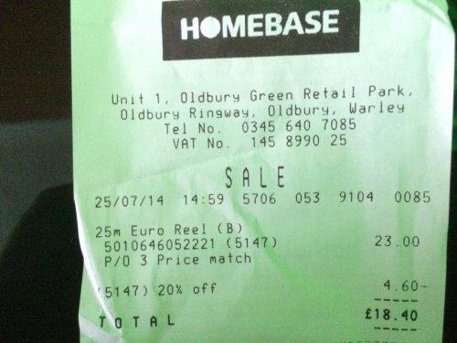 HOZELOCK 25m Euro Reel 5010646052221 price matched + 20% off @ HOMEBASE £18.40