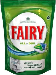 fairy all in one dishwasher original 47 tab  for £5  10p each & Fairy Clean & Fresh Citrus Grove 51 9p each on line and in store