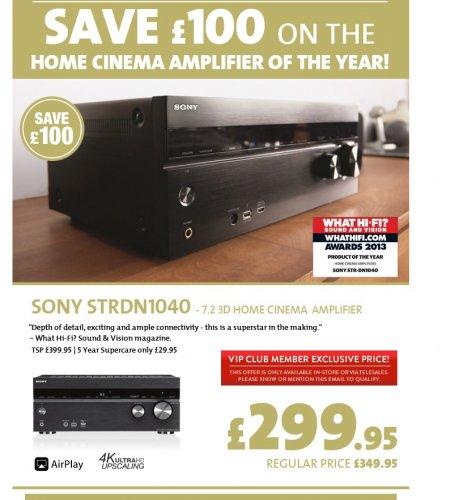 SONY STRDN1040 7.2 Channel home Cinema Amplifier - £299.95 @ RicherSounds