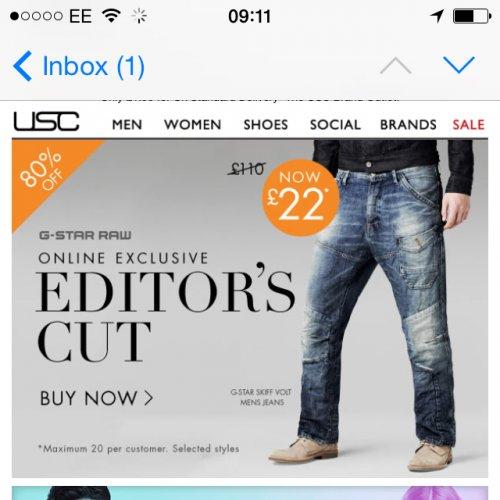 Gstar jeans £22 @ USC