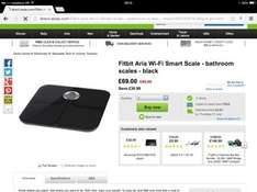 Fitbit aria bathroom scales Wifi £69 at Asda plus free click and collect or £72.95 delivered