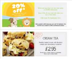 20% off your BHS Restaurant bill when you buy any kids meal from the new menu (From £2.95)