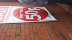 50p sale at for everything at poundworld connswater.