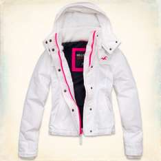 Girls Hollister White fleece lined All weather jacket at Hollister.com using 25% discount code,Free delivery £20.70