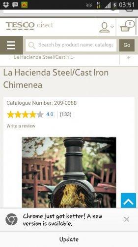 Tesco La Hacienda small chimenea down to £12.50!!!!