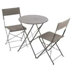 Taupe Steel & Rattan Folding Garden Bistro Set £25 When added to basket Was £100 @ Tesco Direct