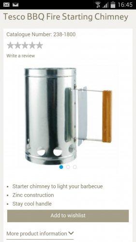 bbq chimney £1.50 at Tesco online  / instore