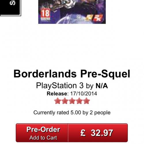Borderlands The Pre Sequel PS3 @ GameStop £32.97