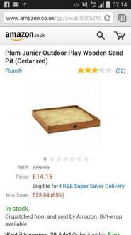 plum wooden sand pit £14.15 delivered at Amazon