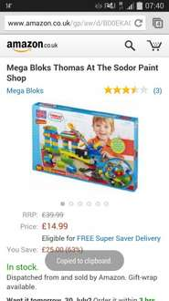 thomas and friends mega blocks - Thomas At The Sodor Paint Shop £14.99 delivered at Amazon