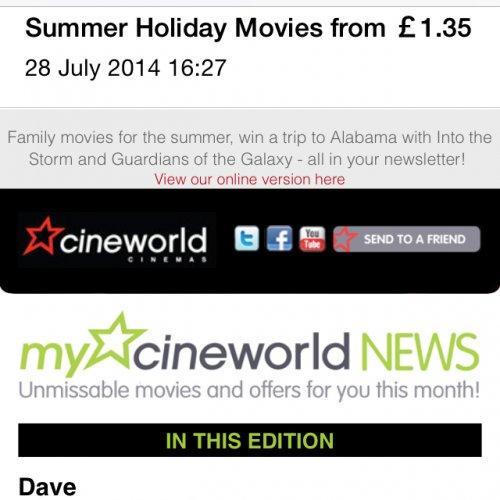 Kids films £1.35 at cineworld