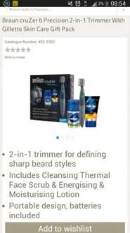 BRAUN CRUZER 6 PRECISION 2IN1 TRIMMER WITH GILLETTE SKIN CARE GIFT PACK  was £34.99 now £14.99 @ tesco direct + free c&c
