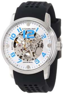 Stuhrling Original Delphi Adonis Automatic Skeleton Men's Automatic Watch with Silver Dial Analogue Display and Black Rubber Strap - £54.03 @ Amazon