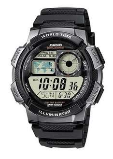 Casio - Black Digital World Time Illuminator Watch - Mens @ Amazon