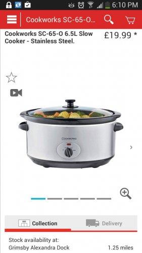 Argos 6.5 L slow cooker £19.99