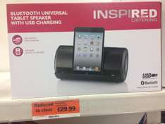 Bluetooth tablet speaker with USB charging , universal £29.99 instore at Sainsburys