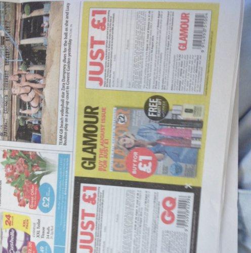 GQ and Glamour magazine £1 Metro voucher