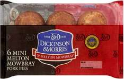 Dickinson & Morris Mini (Melton Mowbray) Pork Pies (38% Pork) (6 per pack - 300g) was £2.49 now £1.24 @ Ocado