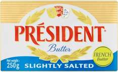 President Slightly Salted or Unsalted Butter (250g) was £1.65 now 2 for £2.50 @ Tesco