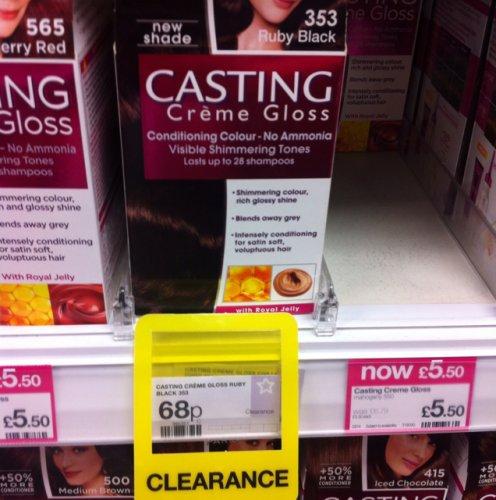 Loréal casting créme gloss hair colour; 353 Ruby Black 68p @ Superdrug!