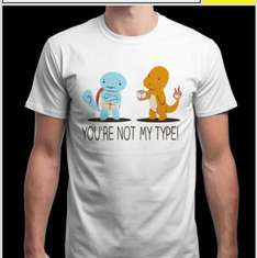 'You're not my type' - funny Pokemon T-shirt £12.50 delivered @ Qwertee