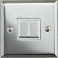 Double 2-Way Light Switch Polished Chrome or Brushed Stainless Steel £2.99 (was 7.99) Reserve and collect @ Argos
