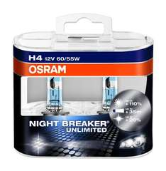 New Osram H4 Night Breaker Unlimited with up to +110% more light, 64193NBU 12V 60/55W, Twin Pack of Headlight Bulbs £12.85 Delivered @ Amazon