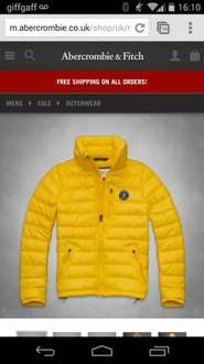 75% off mens abercrombie jacket. Was £140 now £35. Free delivery
