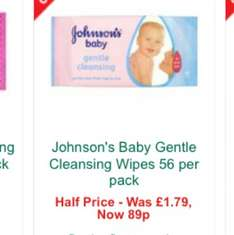 Johnson's baby wipes fir 89p at Morrisons