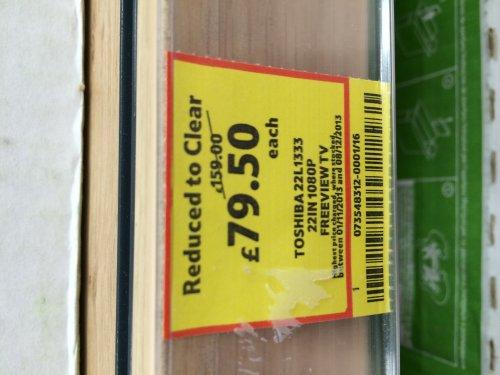 "Toshiba 22L1333 22"" HD led tv was £159 now £79.50 @ Tesco"