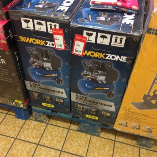 Work zone 2.5hp air compressor £49.99 @ Aldi