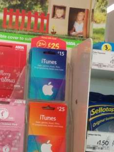 2 x £15 iTunes Voucher for £25 @ ASDA Instore