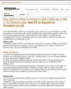 Buy £20 or more in Amazon Gift Cards, Get £5 more to Spend at Amazon.co.uk  [Only for emailed users]