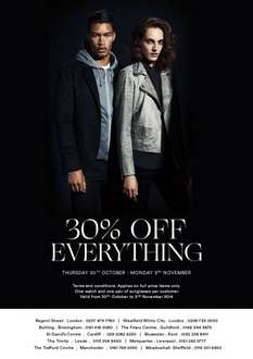 30% off all full price items @ Armani Exchange. Starts Thursday 30th October until Monday 3rd November