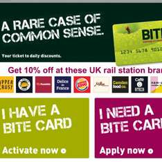 10% off at train stations - Free Bite Card