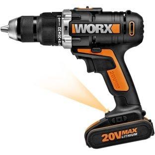 WORX WX372.3 Cordless Hammer Drill - 20V  TWO Lithium batteries @ Argos £64.99