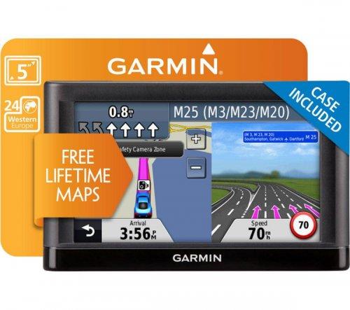 "GARMIN nüvi 55 LM WE 5"" GPS Sat Nav, FREE LIFETIME W/ EUROPE MAPS & Carry Case @ PC WORLD / CURRYS"