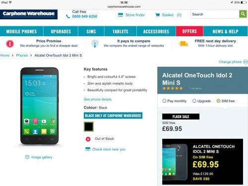 Alcatel OneTouch Idol 2 Mini S 4g mobile phone £69.95 @ CPW