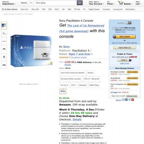 White PS4 + TLOU £289 on Amazon