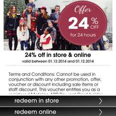 24% off for 24hours @ Matalan (with reward card app)