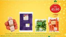 Carrots (1.2Kg), Brown Onions (1.2Kg), Washed Potatoes (1.5Kg), Parsnips (500g), Brussels Sprouts (750g), Savoy Cabbage, Swede (500g), Sprouts Stalks  - 69p or 3 for £1.50 @ Morrisons...