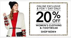 20% OFF women's clothing and footwear for ONE DAY ONLY @ George Asda