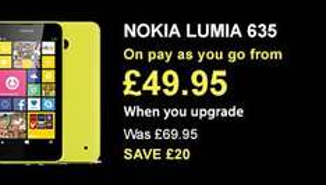 Nokia Lumia 635 £49.95 (was £69.95) PAYG Upgrade - Cyber Monday Flash Sale @ Carphone Warehouse