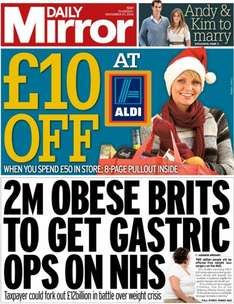 £10 off £50 spend in Aldi this Thursday and every Thursday till Xmas (1st on 4th Dec) in Daily Mirror/Record
