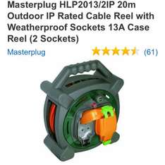 Masterplug 20m Outdoor IP Rated Cable Reel with Weatherproof Sockets 13A Case Reel (2 Sockets) £13.99 @ Amazon