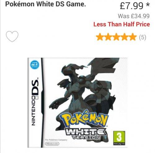 Pokemon White ds Game £7.99 @ Argos